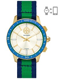 Tory Burch Women's Collins Multicolor Grosgrain Strap Hybrid Smart Watch 38mm