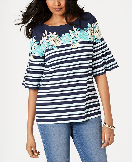 Charter Club Tropical Stripe Bell-Sleeve Top, Created for Macy's