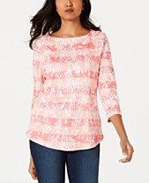 2f34b51c1becde Charter Club Cotton Printed Striped Top, Created for Macy's