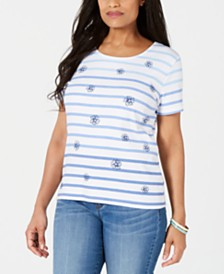 Karen Scott Petite Floral Stripe T-Shirt, Created for Macy's