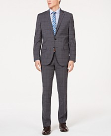 Men's Slim-Fit Stretch Travel Ready Performance Windowpane Suit