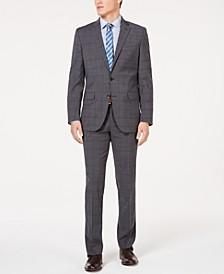 Men's Slim-Fit Stretch Travel Ready Performance Windowpane Suit