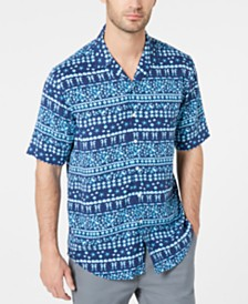 Club Room Men's Reef Fair Isle Camp Collar Shirt, Created for Macy's