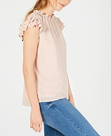 Petite Ruffled Illusion-Yoke Top