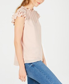 Monteau Petite Ruffled Illusion-Yoke Top