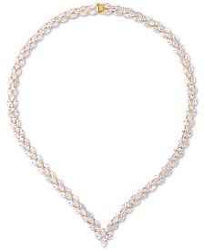 "Tiara Cubic Zirconia Marquise Chevron 17"" Statement Necklace in Sterling Silver"