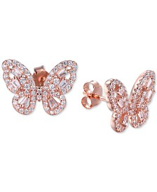 Tiara Cubic Zirconia Butterfly Stud Earrings