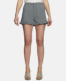 Gingham-Print Ruffled Shorts