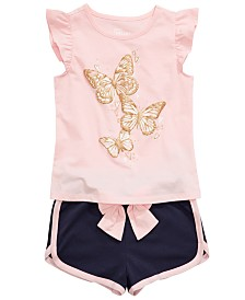 Epic Threads Toddler Girls Butterfly Flutter Top & Bow Shorts Separates, Created for Macy's