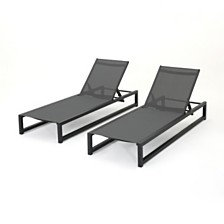 Modesta Outdoor Chaise Lounge, Quick Ship (Set of 2)