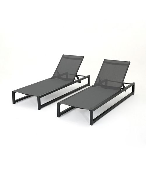 Noble House Modesta Outdoor Chaise Lounge, Quick Ship (Set of 2)