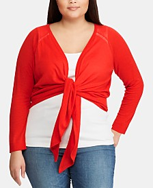 Lauren Ralph Lauren Plus Size Open-Front Sweater