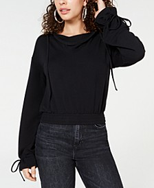 Juniors' Tie-Cuff Cropped Hoodie, Created for Macy's
