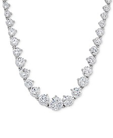 "Cubic Zirconia Graduated 17"" Necklace in Sterling Silver, Created for Macy's"
