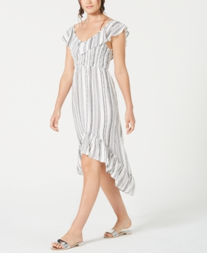 Almost Famous Juniors' Ruffled High-Low Dress In White Combo