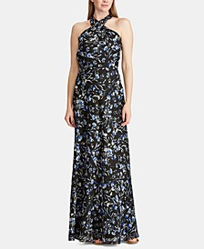 Floral Metallic Satin Gown