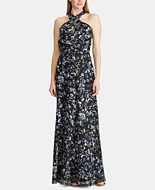 Lauren Ralph Lauren Floral Metallic Satin Gown