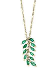"EFFY® Emerald (1-1/10 ct.t.w.) & Diamond Accent 18"" Pendant Necklace in 14k Gold"