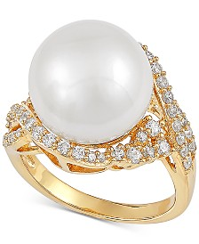 Cultured White Ming Pearl (13mm) & Cubic Zirconia Ring in 14k Gold-Plated Sterling Silver
