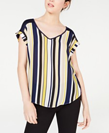 BCX Juniors' Striped-Front Blouse