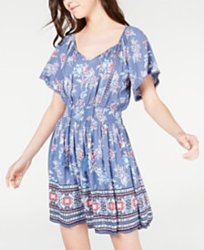 American Rag Juniors' Printed Crochet-Trim Dress, Created for Macy's