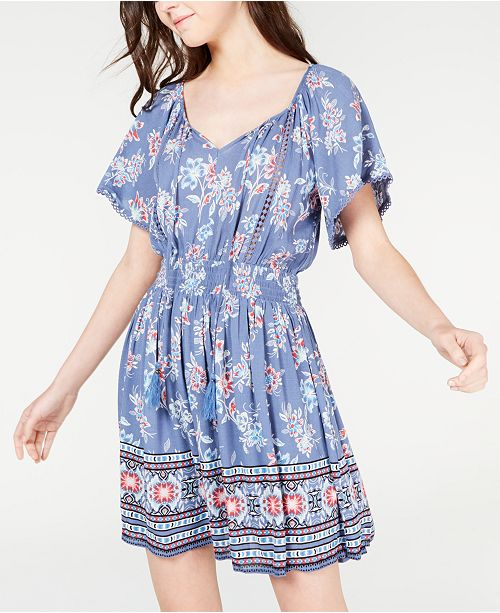 American Rag Juniors' Printed Crochet-Trim Dress, Created for Macy's