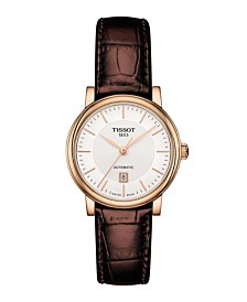 Tissot Women's Carson Premium Swiss Automatic Brown Leather Strap Watch 30mm