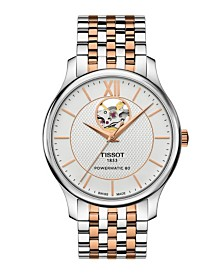 Tissot Men's Tradition Powermatic Stainless Steel And Rose Gold Two Tone Bracelet Watch 40mm