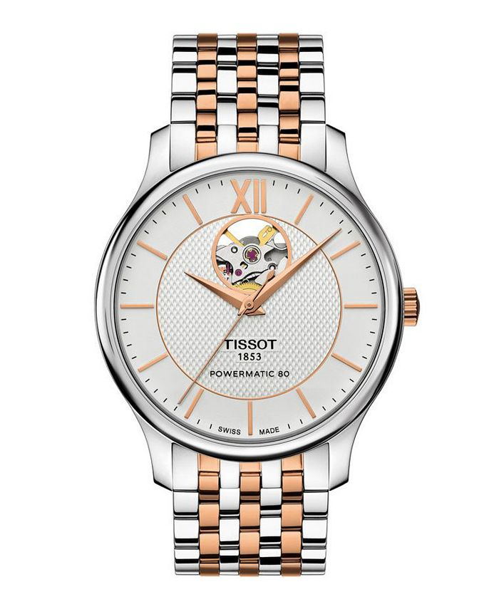 Tissot - Men's Tradition Powermatic Stainless Steel And Rose Gold Two Tone Bracelet Watch 40mm