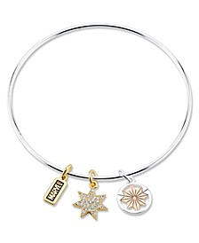 Tri-Color Plated Brass Charm Bangle in Stainless Steel for Unwritten Silver Plated