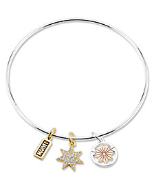 Marvel© Tri-Color Plated Brass Charm Bangle in Stainless Steel for Unwritten