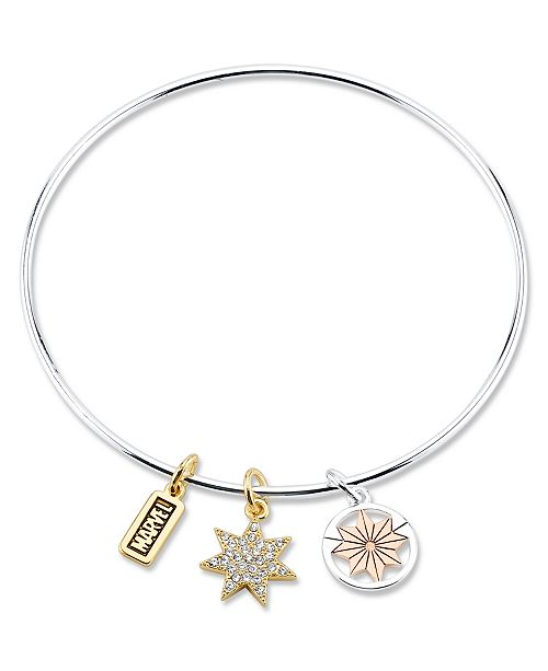Marvel Tri-Color Plated Brass Charm Bangle in Stainless Steel for Unwritten