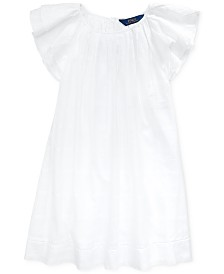 Polo Ralph Lauren Big Girls Flutter-Sleeve Cotton Dress