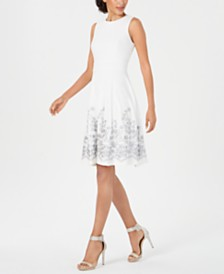 Calvin Klein Petite Embroidered A-Line Dress