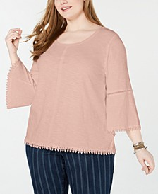 Plus Size Crochet-Trim Bell-Sleeve Top, Created for Macy's