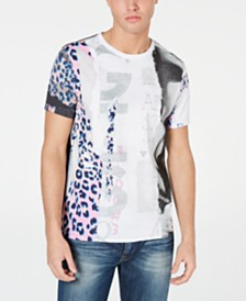 GUESS Men's Leopard Collage Graphic T-Shirt