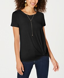 Style & Co Petite Solid Side-Knot T-Shirt, Created for Macy's