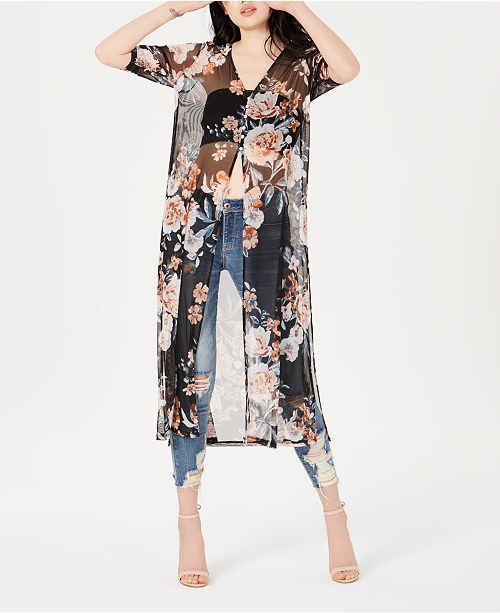 American Rag Juniors' Ruched Sheer Duster Top, Created for Macy's
