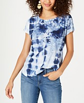 b8c9679e27cd70 Style & Co Floral-Print Tie-Dyed Top, Created for Macy's