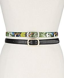 2-Pk. Faux-Leather Skinny Belts