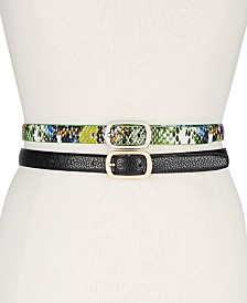 Steve Madden 2-Pk. Faux-Leather Skinny Belts