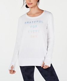 Ideology Grateful Graphic Long-Sleeve Strappy-Back T-Shirt, Created for Macy's