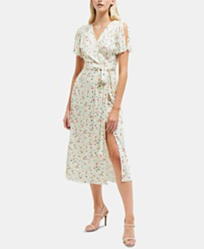French Connection Roseau Meadow Floral-Print Faux-Wrap Dress