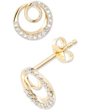 Diamond Spiral Stud Earrings (1/8 ct. t.w.) in 14k Gold