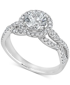 Diamond Halo Engagement Ring (1-1/2 ct. t.w.) in 14k White Gold