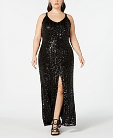 Plus Size Geo-Sequined Slit Gown