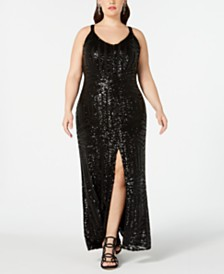 Nightway Plus Size Geo-Sequined Slit Gown