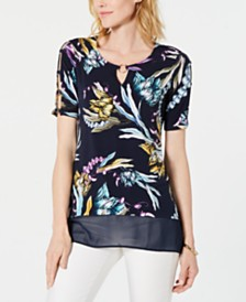 JM Collection Chiffon-Hem O-Ring Top, Created for Macy's