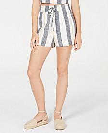 Juniors' Striped Paper-Bag Waist Shorts
