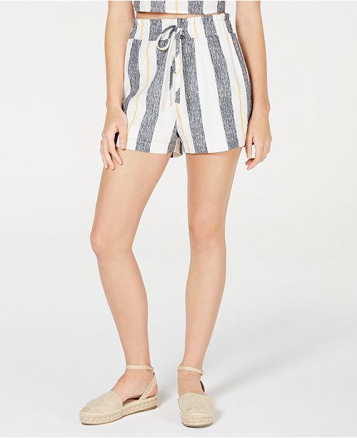 Gypsies & Moondust Juniors' Striped Paper-Bag Waist Shorts